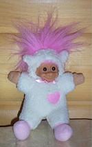 "RUSS Plush 8"" Bright Pink Hair Troll in Lamb Costume - $6.29"