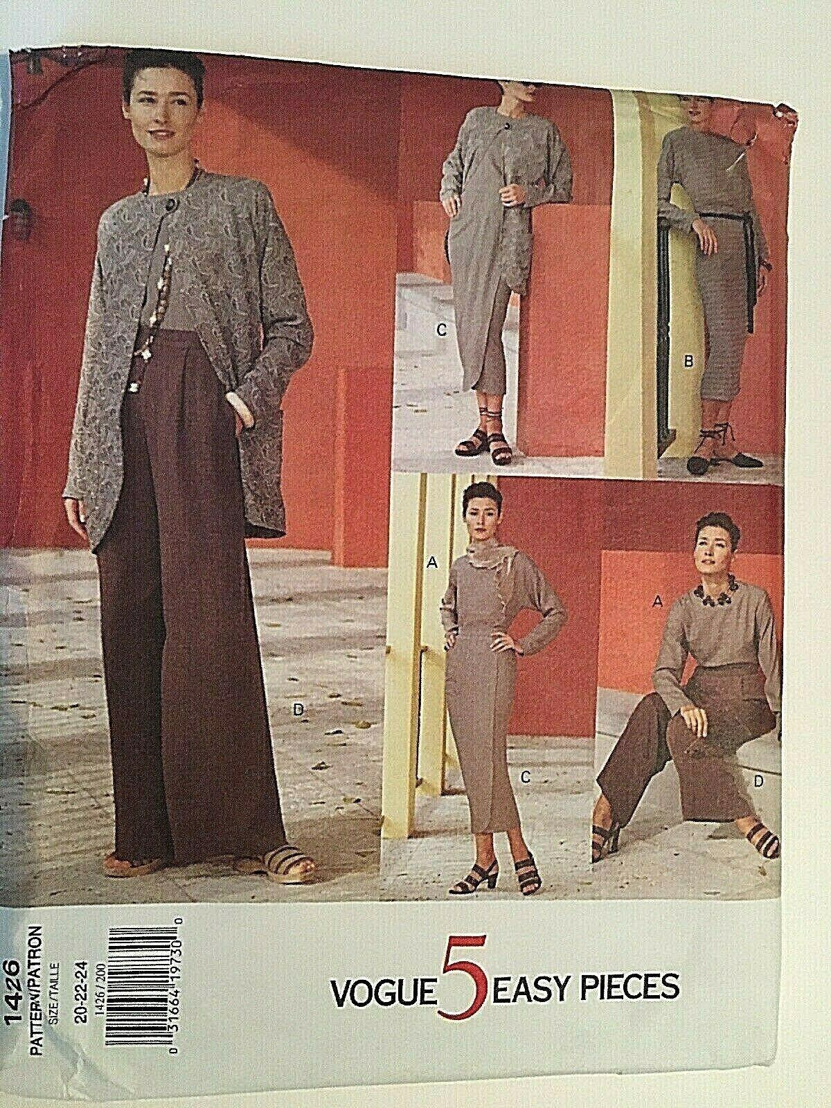 Vogue Sewing Pattern  # 1426 SZ 20-22-24 Dress, Top, Pants, Skirt. Jacket Uncut