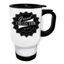 Grand Collection Vintage Design 2015 White/Steel Travel 14oz Mug w826t - $17.79