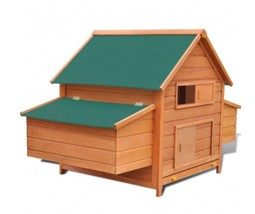 Cage Hen House Outdoor Chicken W Two Egg Cages Wood Wooden Home Nest She... - $233.74