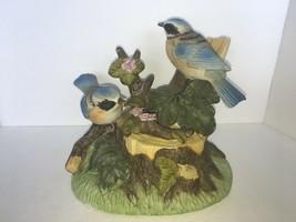 "vintage bluebirds on a stump music box 6 1/2"" - $17.50"