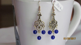 Silver Drops w/Blue Beads Dangle Earrings - $10.00