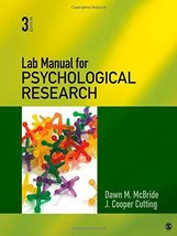 Lab Manual for Psychological Research [Mar 01, 2012] McBride, Dawn M. an... - $44.50