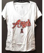 Los Ángeles Angels Mujer Camiseta con Cuello en V, Blanco, Pequeño - $11.90