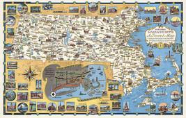 "Historic Massachusetts Travel Map 16""x25"" Pictorial Wall Poster Print Vi... - $16.34"