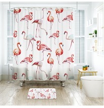 Cute Flamingo 46 Shower Curtain Waterproof Polyester Fabric & Bath Mat Bathroom - $15.30+