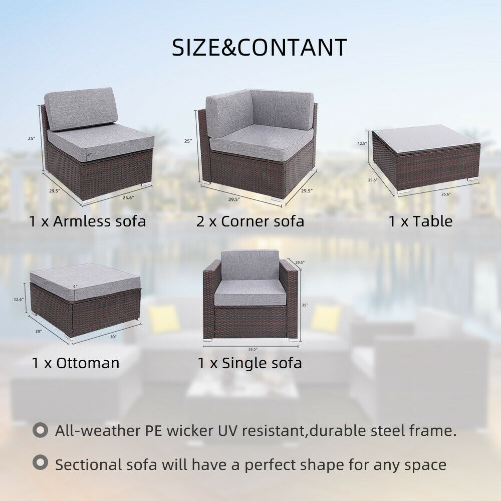 6 Pieces Patio PE Wicker Rattan Corner Sofa Set image 10