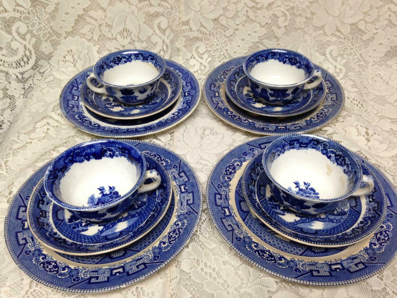 Primary image for Vintage, Rare, Buffalo Pottery, 12-pc Blue Willow Snack - Dinner Set for 4