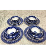 Vintage, Rare, Buffalo Pottery, 12-pc Blue Willow Snack - Dinner Set for 4 - $237.45