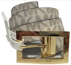 MICHAEL KORS BELT REVERSIBLE CHOCOLATE/VANILLA GOLD BUCKLE MK LOGO MSRP ... - $39.59