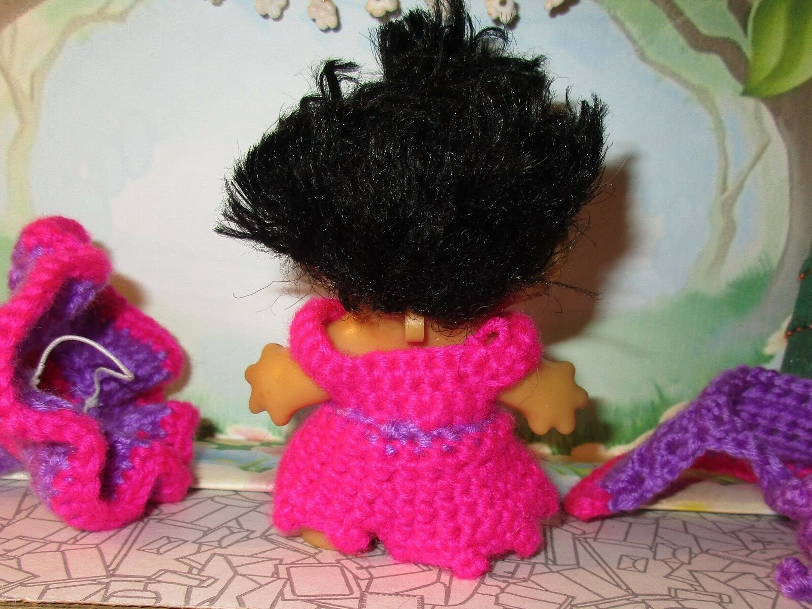 SPRING WITCH TROLL 3 inch crochet dress hat cape panties tab dam doll pink 60's image 8