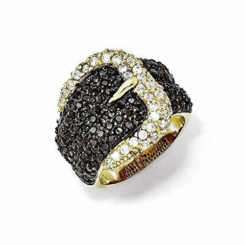 Primary image for Sterling Silver Gold-plated Black White CZ Buckle Ring , Size: 8