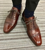 Men Coffee Brown Stylish Classic Lace Up Premium Leather Cap Toe Oxford Shoes - $139.99+