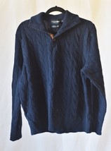 Mens Large Polo Ralph Lauren Golf Sweater cableknit blue navy wool pullover  - $39.19