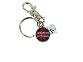 Custom Multiple Myeloma Awareness Red Silver Key Chain Initial Family Charm - $10.44