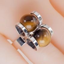 Vintage Finland Designer Elis Kauppi Tiger Eye Sterling Silver Ring Sz: 6.5 - $272.24