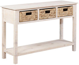Powell Company PAMZN1622 Powell Indiana Basket Console /Collections, White - $204.34