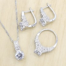 White Zircon  Silver Color Wedding Jewelry Sets for Women Hoop Earrings ... - $23.55