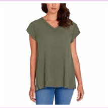 Buffalo Ladies' Cap Sleeves Slit At Side Straight Hem V-neck Tops L/Olive - $29.99