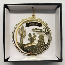 Santa Fe New Mexico Brass Ornament Black Leatherette Gift Box - $16.00
