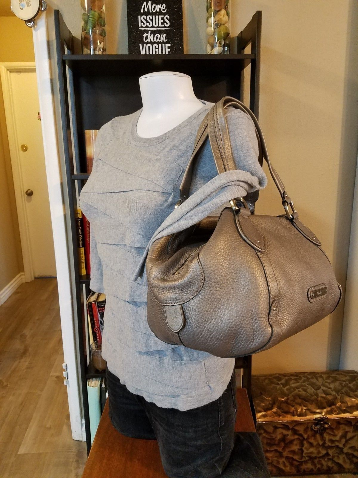 834406161b Cole Haan Silver Pebbled Leather Satchel and 42 similar items. S l1600