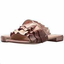 Nine West Slide Sandals Ivarene Womens Pink Blush Satin Ruffled Trim - $23.98