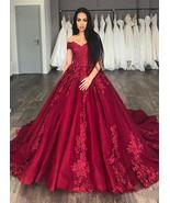 Luxury Burgundy Ball Gown Lace Wedding Dresses With Appliqued Women Brid... - $196.88