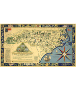 """Early Pictorial Map of North Carolina for Nature Lovers 9""""x16"""" Historic ... - $12.38"""