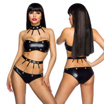 Wetlook Set GOGO TOP COLLAR Panties Chains Ladies Lingerie Black Lingeri... - $51.22