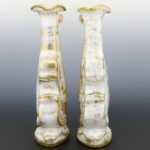 Pair Imperial Milk Glass Violin Vases with Heavy Gold Decor 40s/50s era IG Mark image 4