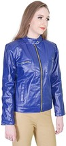 Womens Collared Solid Bikers Color Blue  Lambskin Soft Ladies Jacket-LD-07 - $130.00+