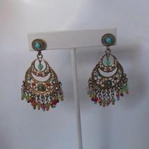 Signed Grazino Colorful Beaded Chandelier Dangle Earrings  - $54.45