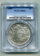 1885 MORGAN SILVER DOLLAR PCGS MS63 NICE ORIGINAL COIN FROM BOBS COINS F... - $69.00