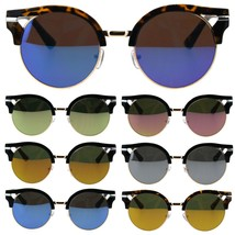 Womens Color Mirror Lens Round Circle Lens Half Rim Mod Sunglasses - $9.95