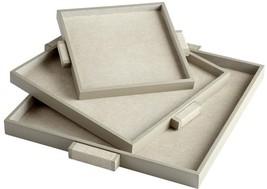 Tray CYAN DESIGN BROOKLYN Medium Shagreen Leather Wood New - $172.50