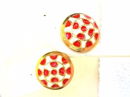 Red and White Enamel Vintage Earrings with Gold Tone Trim Pierced Earrings - $11.39