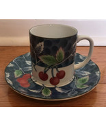 Williams Sonoma Red Cherries Cup and Saucer Grande Cuisine Japan Signed ... - $19.77