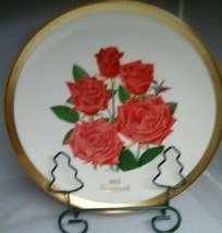 Gorham American Rose Society 1977 Prominent Gold Rim Collector Plate - $8.81