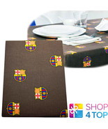 FC BARCELONA TABLE CLOTH DINING ROOM KITCHEN BROWN OFFICIAL FOOTBALL CLU... - $28.56