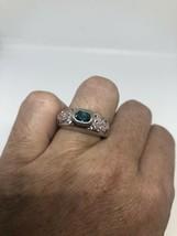 Genuine Blue Fluorite Vintage 925 Sterling Silver Size 7 Deco Ring - $95.18
