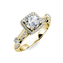 1.5 Carat G-H Diamond Fancy Halo Cushion Engagement Bridal Ring 14K Yellow Gold - £1,550.89 GBP