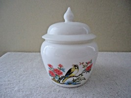 Vintage Avon # 10 White Milk Glass Acorn Shaped Bowl With Pic Of Bird An... - $18.69