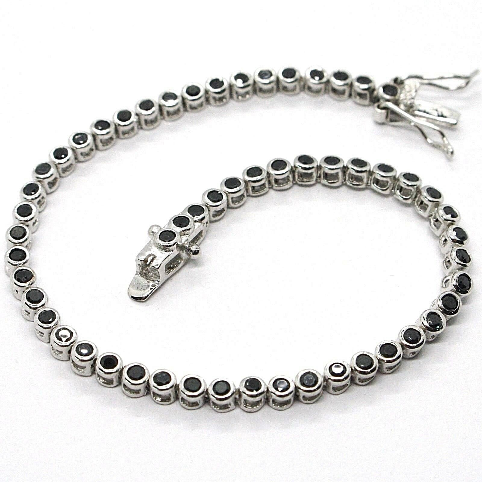 Tennis Bracelet, 925 Silver, Zircon Cubic Black, Brilliant Cut, 3 MM
