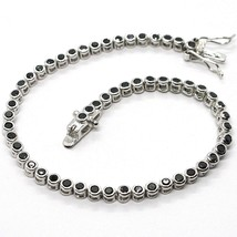 Tennis Bracelet, 925 Silver, Zircon Cubic Black, Brilliant Cut, 3 MM image 1