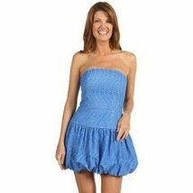 Lilly Pulitzer 2 Blue Eyelet Lace Embroidered Strapless Bubble Hem Emma ... - $39.59