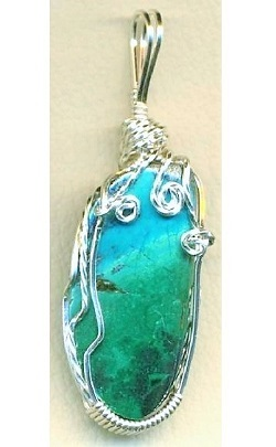 Chrysocolla Silver Copper Wire Wrap Pendant 5