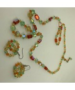 Vintage Multi-Color Art Deco Crystal Bead Necklace and Earrings - $40.00