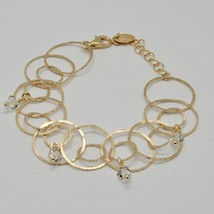 Armband 925 Silber Folie Gold Kreise Mattiert By Maria Ielpo Made in Italy - $131.28