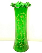 Big 19th c. Emerald Green Czech Bohemian Victorian Painted Blown Glass Vase - $24.95