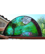 Stained Glass Window Panel Large Moonlit tree Arch - $339.00